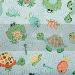 Turtles and Frogs on PUL Diaper Cut - 23x23 cut 