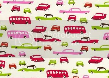 Vintage Cars (Girly) on Knit Interlock