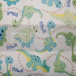 Dinosaurs on PUL Diaper Cut -23x23 cut 